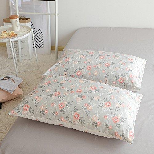 BuLuTu Cotton Vintage Floral Print Bed Pillowcases Set of 2 Queen Grey Garden Blossom Flowers Kids Pillow Covers Decorative Standard For Girls Envelope Closure-Premium,Ultra Soft (2 (Flowers Pillowcase)