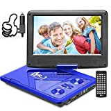 DR. J 11.5' Portable DVD Player 9.5' Swivel Screen with 5 Hours Built-in Rechargeable Battery, USB SD Card Slot, Region...