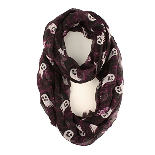 Halloween Soft Light Wide Loop Circle Infinity Scarf Wrap Black