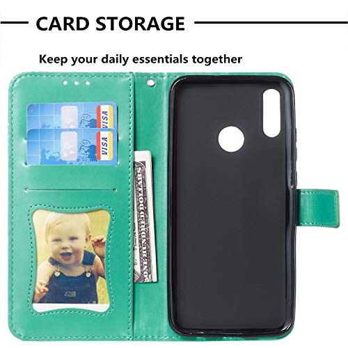 For Huawei Honor 10 Lite Wallet Case [Free Screen Protector],Magnetic Flip with Cards Slot Cash Pockets Embossed Rattan Flowers Pattern Soft Silicone Cover for Huawei Honor P Smart 2019,Green by Funyye (Image #2)