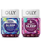 Olly Sleep Vitamins Gummy Set! Beauty Sleep 40 Gummies and Extra Strength Sleep 50 Gummies! Formulated with Ceramides, Melatonin and L-Theanine! Sleep-Boosting and Beauty-Boosting Chewable Vitamins!