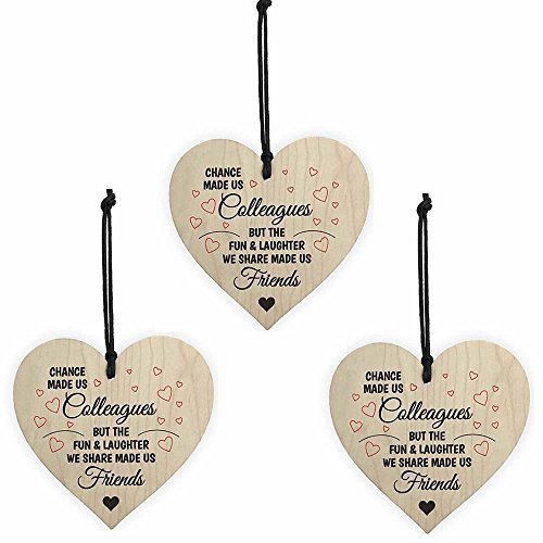 ISKYBOB 3 Pack Chance Made Us Colleagues Novelty Wooden Hanging Heart Plaque Friendship Sign