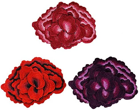 EMDOMO 1PC Exquisite Embroidery 3D Peony Flower Venise Collar Applique Patch Fabric Badge Sewing for Dress Clothes T2773 (Mix 3pc) / EMDOMO 1PC Exquisite Embroidery 3D Peony Flower Venise Collar Applique Patch Fabric Badge Sewing f...