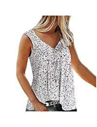 OCEAN-STORE Women T-Shirt Sleeveless V-Neck Floral Print Tank Tops Casual Plus Size Vests