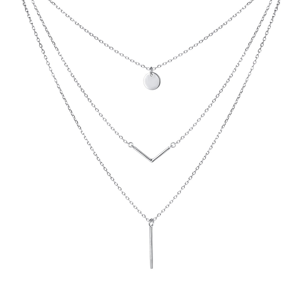 SILVER MOUNTAIN S925 Sterling Silver Triple Layer Pendant Choker Necklace for Women 16''+2''