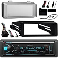 Kenwood KDCBT31 Bluetooth Radio USB AUX CD Player Receiver W/ Cover - Bundle With Install Dash Kit + Handle Bar Control + Enrock Antenna for 98 2013 Harley Touring Flht Flhx Flhtc Motorcycle Bike