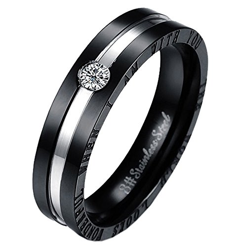 UM Jewelry Couples Ring Two Tone Men Women Stainless Steel Engraved for Boyfriend and Girlfriend