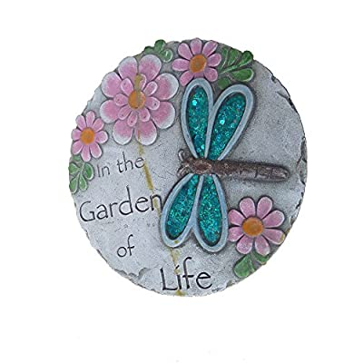 Comfy Hour Dragonfly Flower Wall Decoration Garden Stepping Stone, Not for Stepping, 10 Inches Round