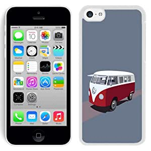 Fashionable Custom Designed iPhone 5C Phone Case With Volkswagen Type 2 Hippie Van Illustration_White Phone Case