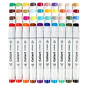 Caliart 40 Colors Dual Tip Art Markers Permanent Alcohol Based Markers Colored Artist Drawing Marker Pens Highlighters With Case for Coloring Animation Illustration Painting Card Making Underlining