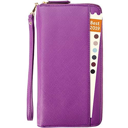 (Travel Document Organizer - RFID Passport Wallet Case Family Holder Id Wristlet (Purple))