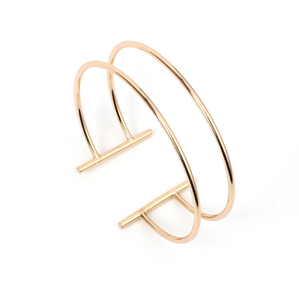 Dwcly Double Layer Hollow Geometry Simple Expandable Wire Cuff Bangle Bracelet All-match Wrist Jewelry