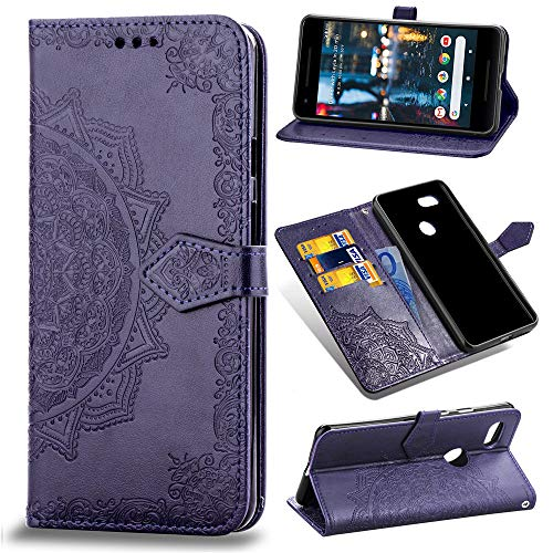 Price comparison product image Google Pixel 3a XL Case, Google Pixel 3a XL Flip Case, Google Pixel 3a XL PU Leather Wallet Embossed Mandala Floral Flowers Case with Kickstand Flip Cover Card Holder for Google Pixel 3a XL Purple