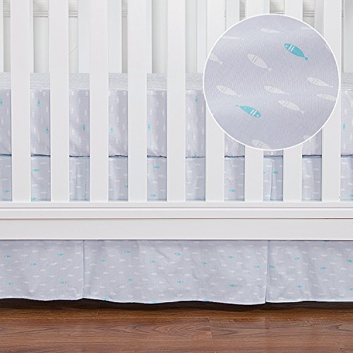 TILLYOU Pleated Crib Skirt, Light Blue Fish Pattern, 100% Natural Cotton, Nursery Crib Bedding Skirt for Baby Boys and Girls 14