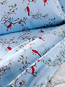 The Vermont Country Store Home Cardinal and Chickadee Flannel Sheet Set Queen Light Blue