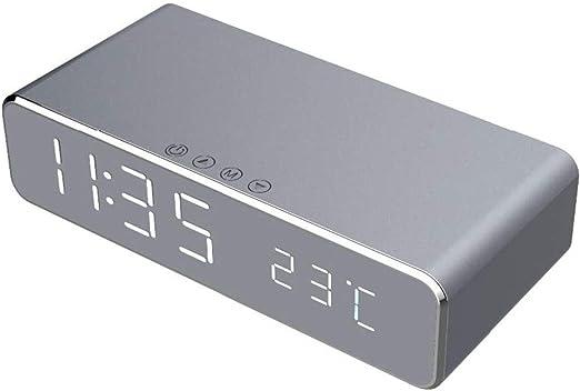 MZW Reloj Despertador LED eléctrico con Cargador de teléfono Reloj de termómetro Digital de Escritorio Reloj de Espejo HD con Memoria de Tiempo: Amazon.es: Hogar
