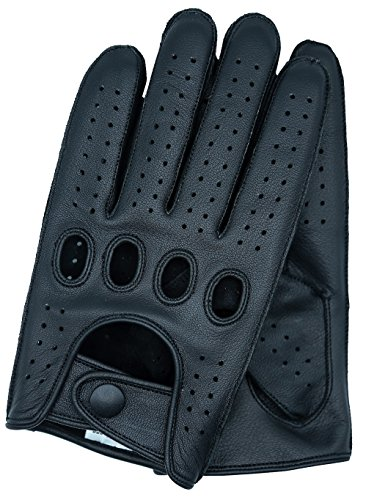 Riparo Men's Reverse Stitched Touchscreen Texting Leather Driving Gloves (Large, Black) ()