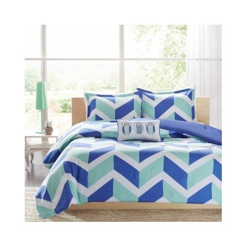 Kids Teens Chevron 4-piece Comforter Bedding Set Pink Orange Blue Color