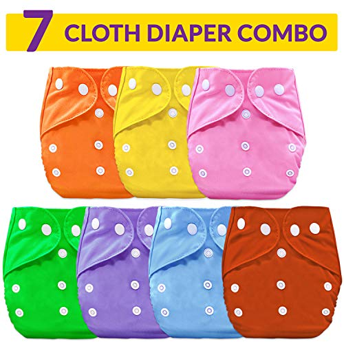 Bembika B Plus Solid Cloth Diapers for Babies, Washable Reusable, Adjustable Sizes (7 Combo) (No Inserts Included) 7B