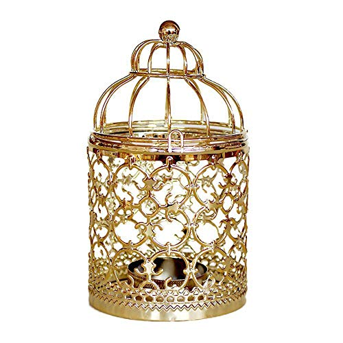 (Chenway Iron Birdcage Pillar Candle Holder,Hollow-Out Design Candlestick - Functional Table Decorations- Centerpieces for Dining/Living Room )