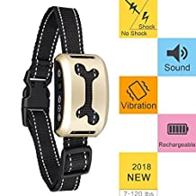 Anti Bark Dog Collar Rechargeable Waterproof, no Bark, no Shock, Harmless and Fcc, Ce, Rohs Proved, Stop Barking Dog Training Collars, Anti Bark for Small Medium Large Dogs, 7 Sensitivity Levels Adjustable, Beep Sound Vibration