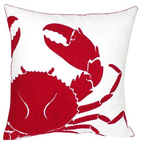 Red Crab - DECOPOW Embroidered Crab Throw Pillow Covers,Square 18 inch Decorative Crab Canvas Pillow Cover (Red-Crab)