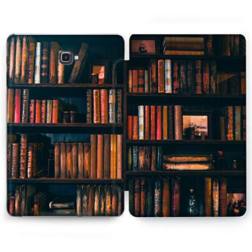 Wonder Wild Book Shelf Samsung Galaxy Tab S4 S2 S3 A E Smart Stand Case 2015 2016 2017 2018 Tablet Cover 8 9.6 9.7 10 10.1 10.5 Inch Clear Design Literature Intelligent Reading Poem Story Tales Novel