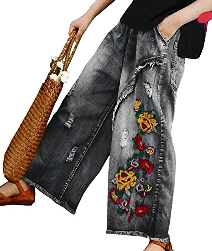 YESNO PW2 Women Casual Cropped Pants Loose Floral Jeans Ripped Embroidered Wide Leg (M, PW2 Black)