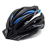Cheap VICTGOAL Bike Helmet with Detachable Visor Back Light & Insect Net Padded Adjustable Sport Cycling Helmet Lightweight Bicycle Helmets for Adult Men and Women Youth Teenagers (Black Blue)