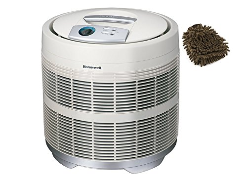 50250-S Honeywell Air Purifier True HEPA Drain, Prefilter, 390 Sq. Ft (Complete Set) w/ Bonus: Premium Microfiber Cleaner Bundle
