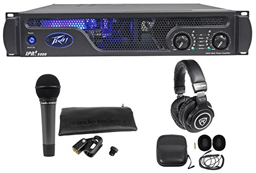 Package: Peavey IPR2 5000 5,050 Watt RMS Professional Power Amplifier + Audio Technica ATM510 Cardioid Dynamic Handheld Microphone + Audio Technica ATH-M20x Closed-Back Studio Monitor Headphones by Peavey
