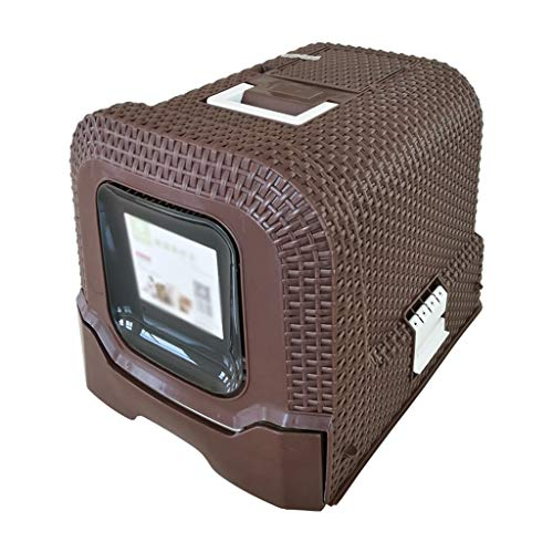 Petlife Cat Litter Box Jumbo, Hooded Cat Litter Box, Litter Box, Rattan Litter Tray, Fully Enclosed Cat Litter Pan, for Cat or Dog Use Pots,Brown