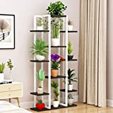 D&LE Metal Flower Plant Shelf 6 Pots Holder Plant Stand Rack Decorative Indoor Outdoor Multi-Tier Flower Display Stand Storage Rack-White&Black 30x9x57(75x22.5x145cm)