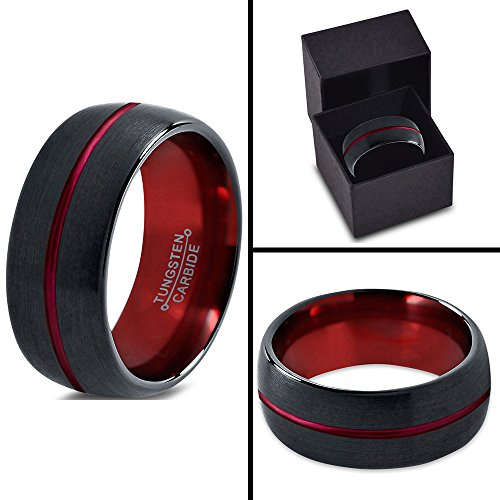 Tungsten Wedding Band Ring 10mm for Men Women Red Black Domed Brushed Polished Center Line Lifetime Guarantee