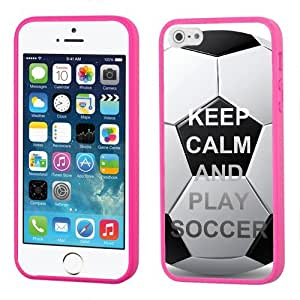 One Tough Shield ? Hybrid Flexible/Rigid Phone Case (Pink Bezel) for Apple iPhone 5 5s - (Keep Calm / Play Soccer) by lolosakes