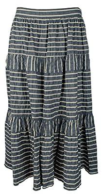 Lauren Ralph Lauren Womens Seersucker Striped Midi Skirt