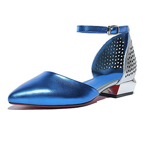 Nine Seven Cuero Moda Puntiagudos Bailarinas Planos con Correa de Tobillo para Mujer Azul