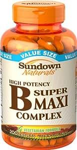 Sundown Naturals B Complex, Super Maxi, 200 Caplets (Pack of 2)