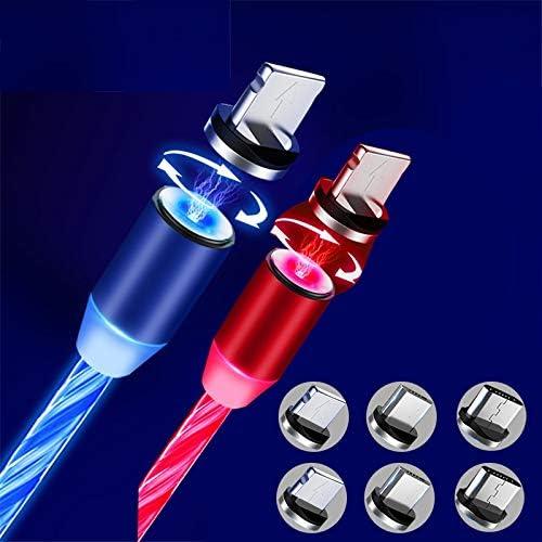 Cables de carga magneticos  LED (2u.) long.2m ,rojo/azul