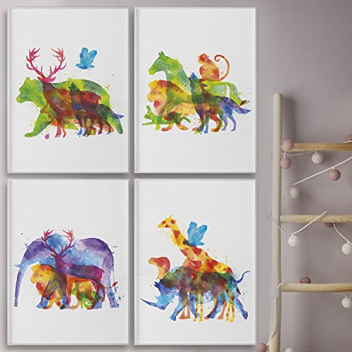 Safari Nursery Wall Art Collection. Jungle Animals Watercolor Set of Four Posters for Baby Shower Gift. Inspirational Eco-Friendly Wall Hangings for Kids Decor by Pillow and Toast. - Kid Poster