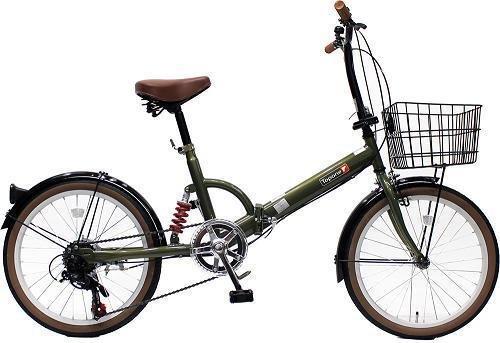 トップワン(TOP ONE) 20インチ折畳み自転車 シマノ外装6段ギア リアサスペンション カゴカギライト付 オリーブ FS206LL-37-OL ブラックモカオリーブパールホワイトレッドターコイズブルー B00F2ESHOA