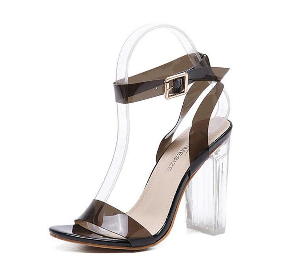 GLTER Mujeres Ankle Strap Bombas Verano Nuevo Sandalias De Tacón Alto Transparente Encanto Thick Heel Zapatos Europea Y Moda Americana De Tres Colores Cristal Zapatos , black , 39 39|black