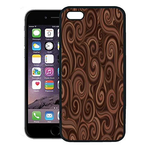 Contour Dessert - Semtomn Phone Case for iPhone 8 Plus case,Brown Chocolate Colorful Abstract Pattern Waves Curls Fills Swirl Dessert iPhone 7 Plus case Cover,Black