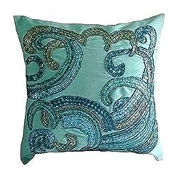 Handmade Aqua Blue Sequins Beaded Pillow Cover