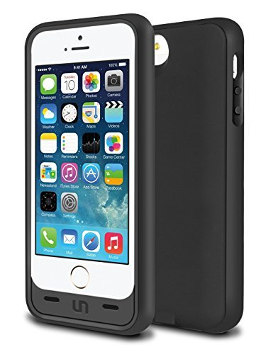 iPhone 5S Battery Case, iPhone 5 Battery Case, Slim Fit Design 2200mAh Capacity Polymer Battery iPhone 5S Charging Case Removable Rechargeable Portable External Charger for Apple iPhone 5/5s/SE -Black