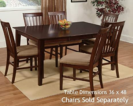 Amazon.com - Shaker Dining Table with 36 x 48 Solid Top in an ...