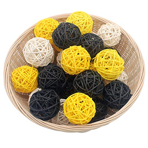 Set of 15 Mixed Yellow Black White 2 Small Decorative Wicker Rattan Balls Natural Sphere Orbs for Vase Bowl Filler DIY Craft Bumblebee Bee Baby Shower Gender Reveal Nursery Home Patio Hanging Decor