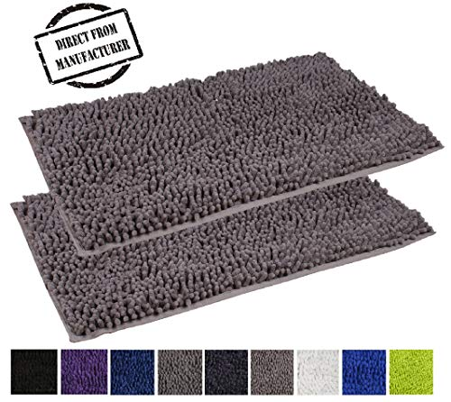 Bathroom rugs| Microfiber Shaggy 2 Piece Set includes 20x31 inches Bathmats (Gray) - Non Slip Absorbent Machine Washable Bath rugs for Bathroom/Tub/Shower/Floor by Avira Home