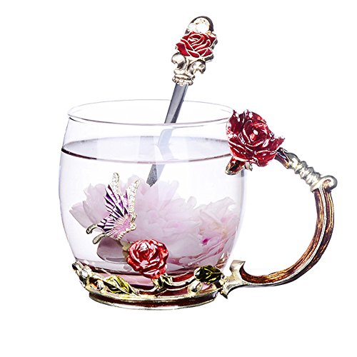 NBWUYUE Mother's Day Gifts For Mom Tea Cup Coffee Mug Cups Clear Glass With Spoon Set Unique Rose Flower Enamel Design Valentine's Day Birthday Decoration Wedding Gift (Short Red) ()