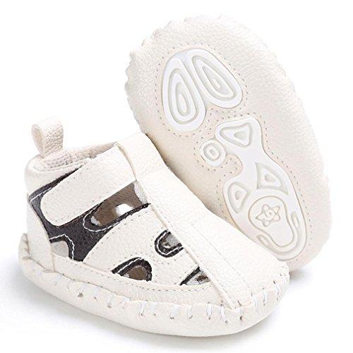Sandalias para 0~18 meses Niño SMARTLADY Bebé Zapatos PU Cuero Zapatillas de Antideslizantes Blanco
